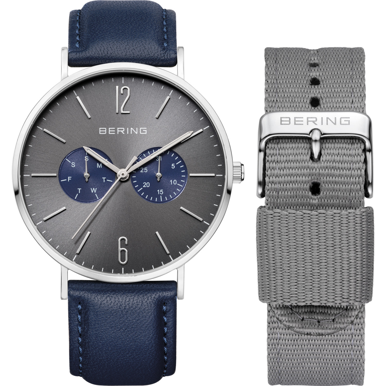 Bering Unisex Grey Dial Interchangeable Bracelet Watch 14240-803