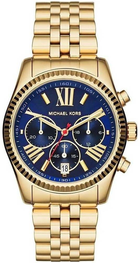 419f3d11fb26 Michael Kors Women s Lexington Chronograph Blue Dial Gold-Tone Watch MK6206