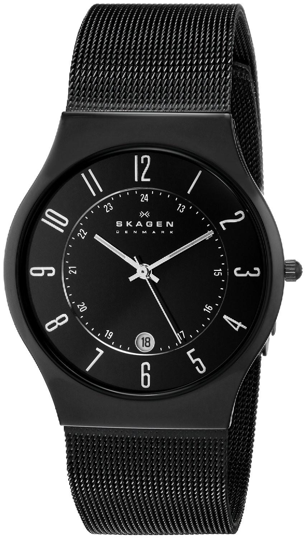 Skagen Men's Black Dial Titanium Stainless Steel Mesh Watch 233XLTMB