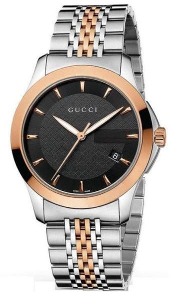 f44a46ee780 Gucci Men s G-Timeless Black Dial Two Tone Watch YA126410