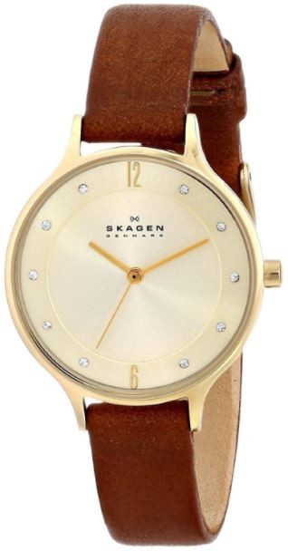 Skagen Women's Anita Brown Leather Diamond Watch SKW2147