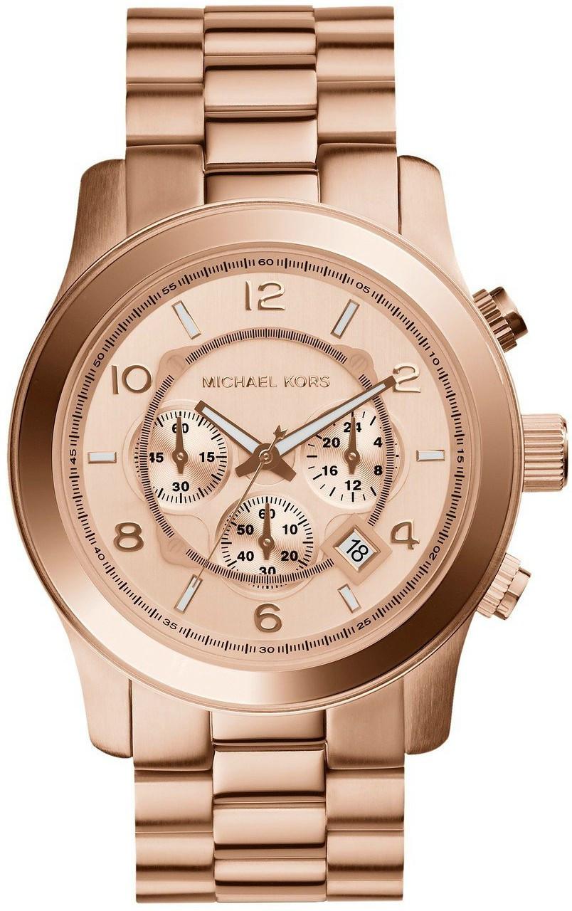 48536a1fe92d Michael Kors Women s Runway Chronograph Rose Gold Dial Watch MK8096