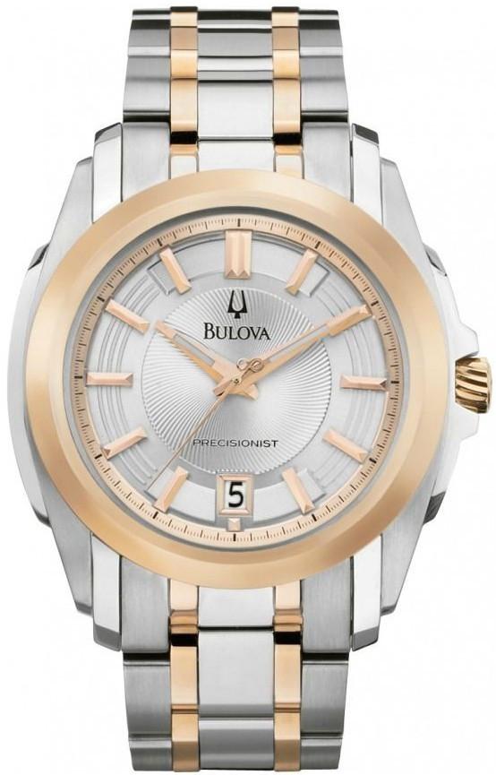 e8155361d Bulova Men's Precisionist Silver Dial Two Tone Watch 98B141