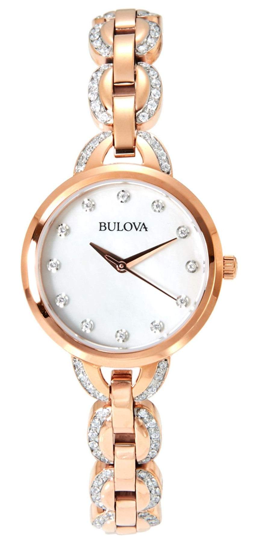 878ad40c8eee7 Bulova Women's Crystal Mother Of Pearl Dial Gold Tone Stainless Steel Watch  98L207