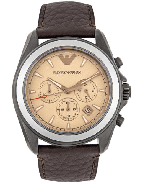 Emporio Armani Men's Chronograph Brown Leather Watch AR6070