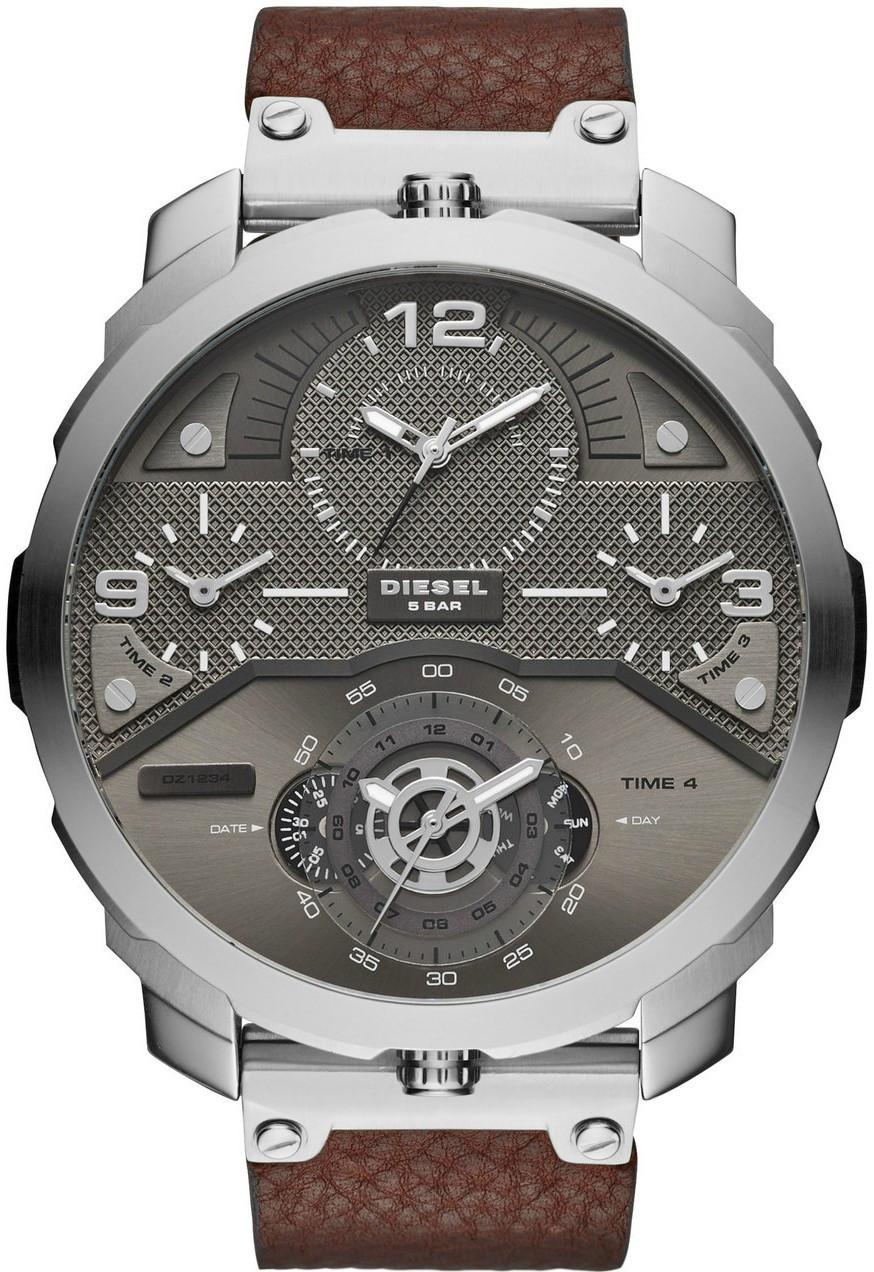 Diesel Men's Machinus Gunmetal Dial Brown Leather Watch DZ7360