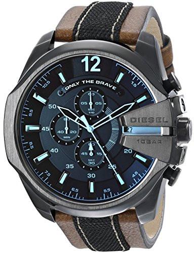 3dd48123a Diesel Men's Mega Chief Chronograph Leather Strap Watch DZ4305