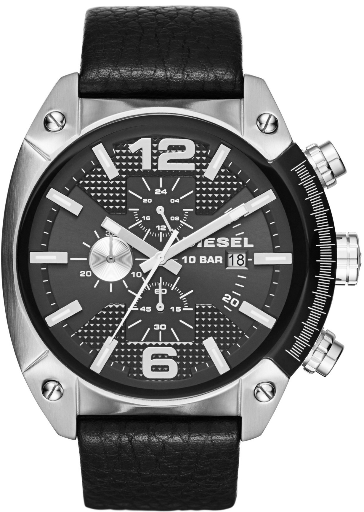 Diesel Men's Overflow Chronograph Black Dial Black Leather Watch DZ4341