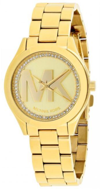c43bb5055e9b Michael Kors Women s Slim Runway Gold Tone MK Logo Watch MK3477