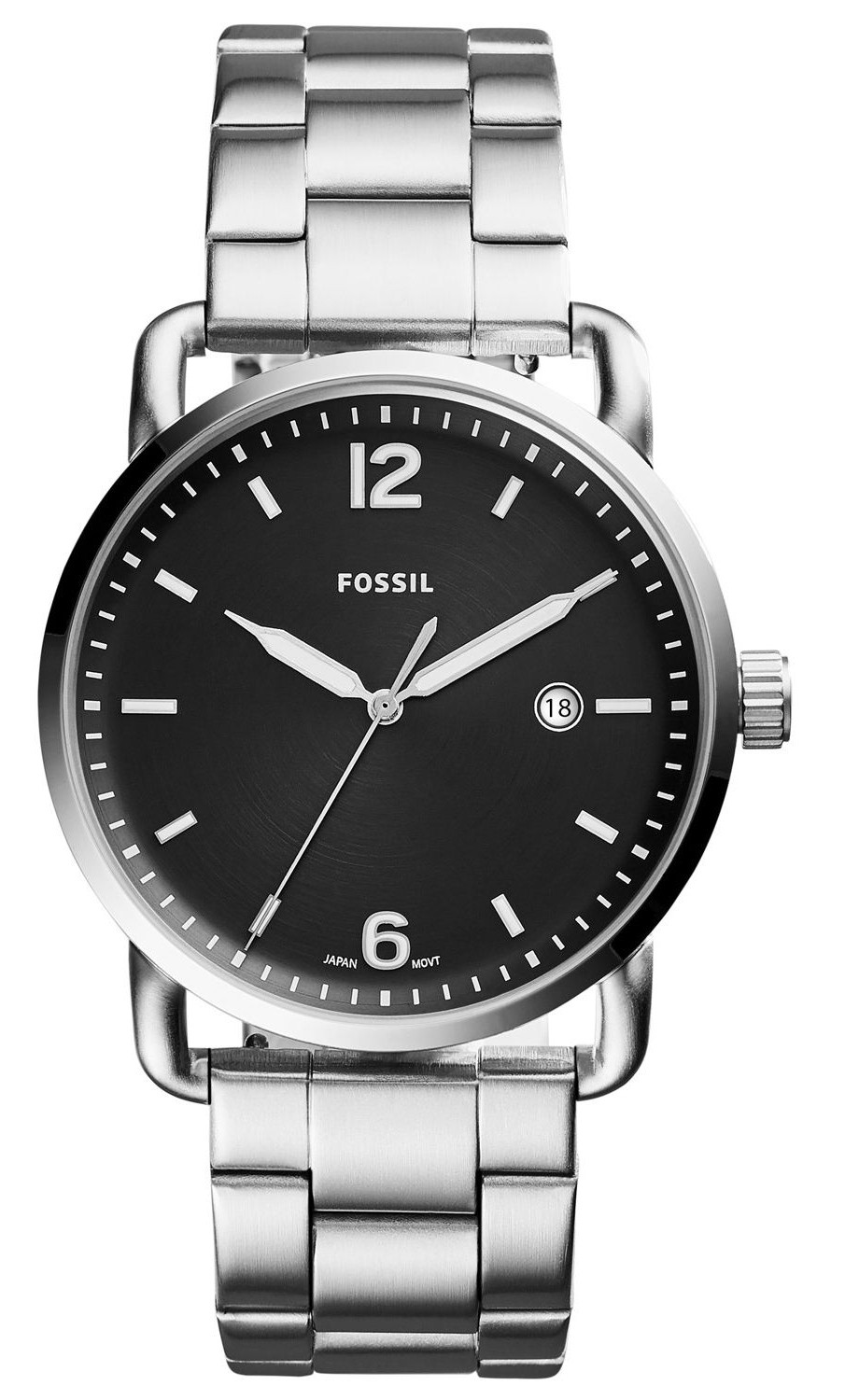 Fossil Men's Commuter Black Dial Stainless Steel Watch FS5391