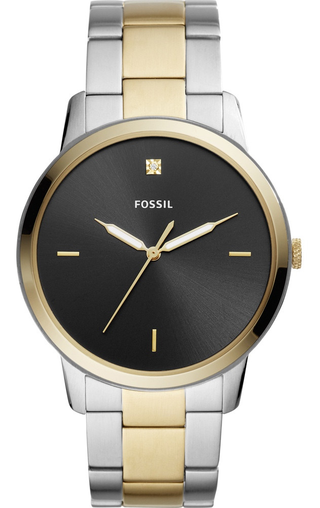 fa5811c40 Fossil Men's Minimalist Black Dial Two Tone Stainless Steel Watch FS5458