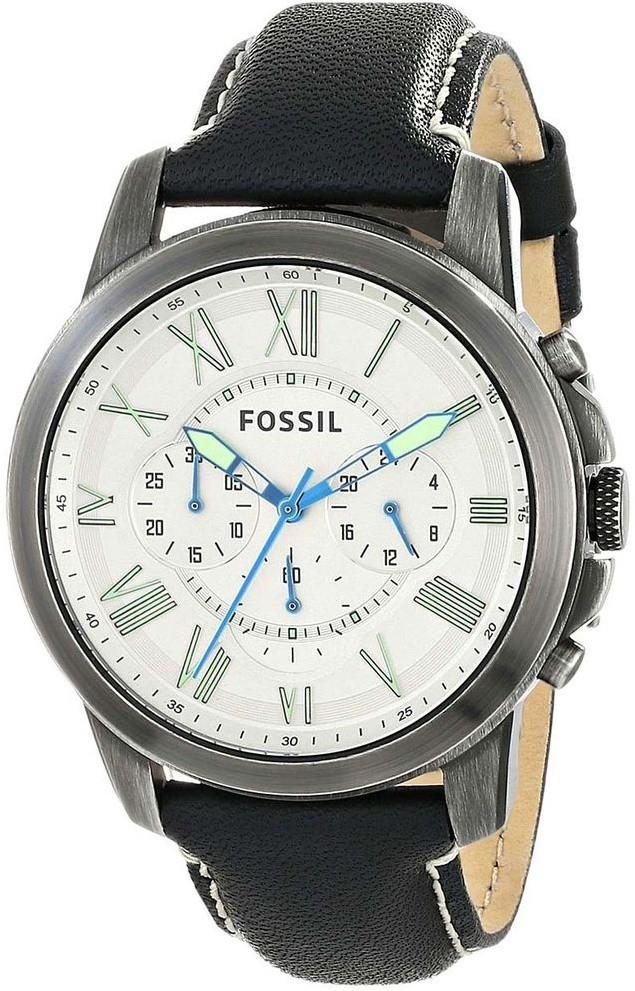 a186efb130ef3 Fossil Men s Grant Chronograph Black Leather Watch FS4921