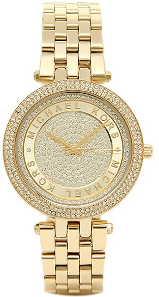 Michael Kors Women's Mini Darci Crystal Pave Dial Gold-Tone Watch MK3445