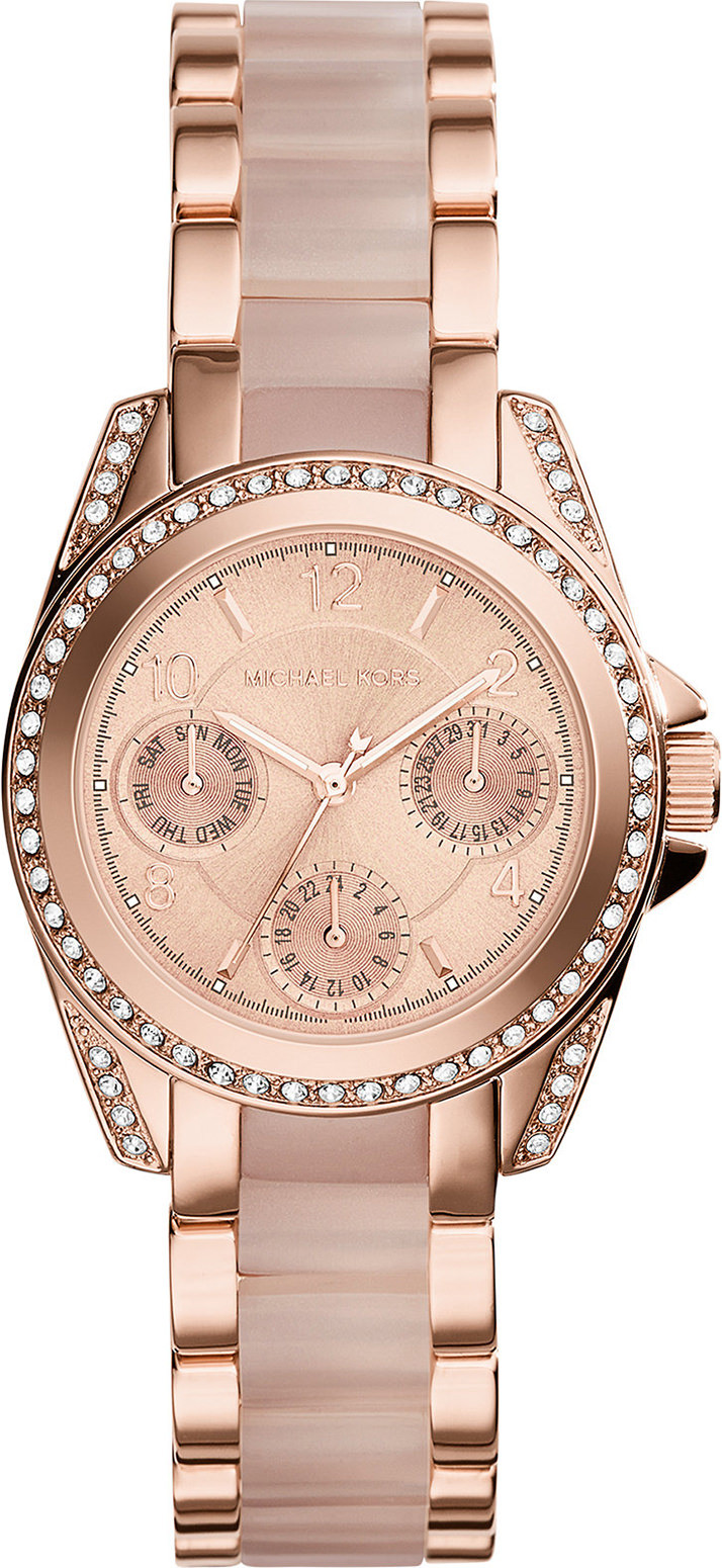 79a2168d617f Michael Kors Women s Chronograph Mini Blair Rose Gold Tone Watch MK6175