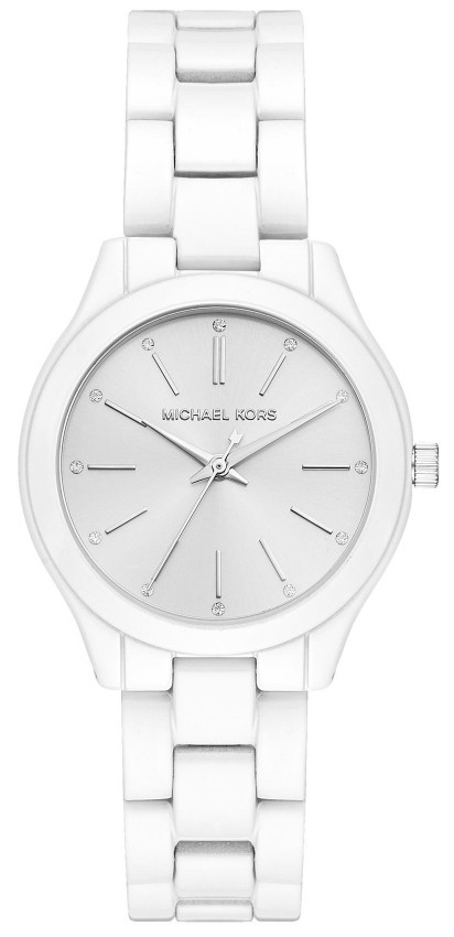 5b7f6ec2a Michael Kors Slim Runway Women's Silver Dial White Stainless Steel Watch  MK3908