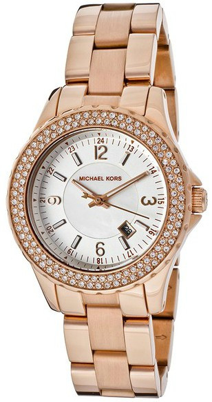 006f02cf6a99 Michael Kors Women s Madison White Dial Crystal Rose Gold Tone Watch MK5403