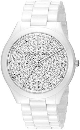 7991647bb Michael Kors Women's MK3448 Slim Runway Watch With White Ceramic Band