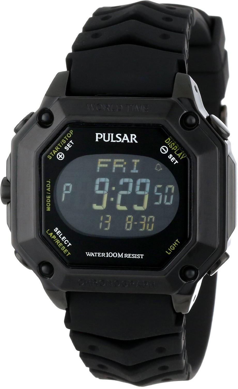 11ffe0c6b Pulsar Men's Digital Black Rubber Watch PW3003