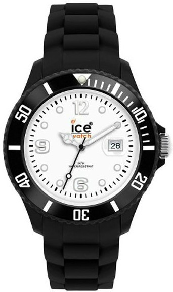 Ice Watch Unisex White Dial Black Silicone Watch SI.BW.B.S.10