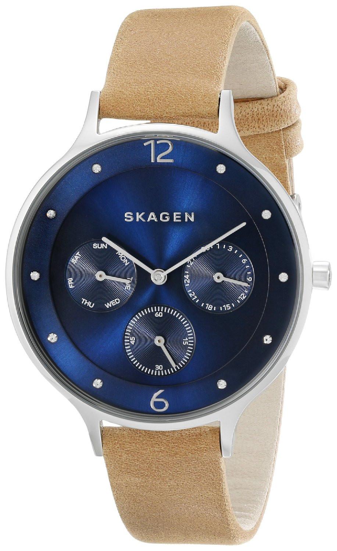 Skagen Women's Anita Blue Dial Brown Leather Watch SKW2310
