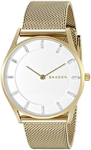 Skagen Women's Holst White Dial Gold-Tone Mesh Watch SKW2377