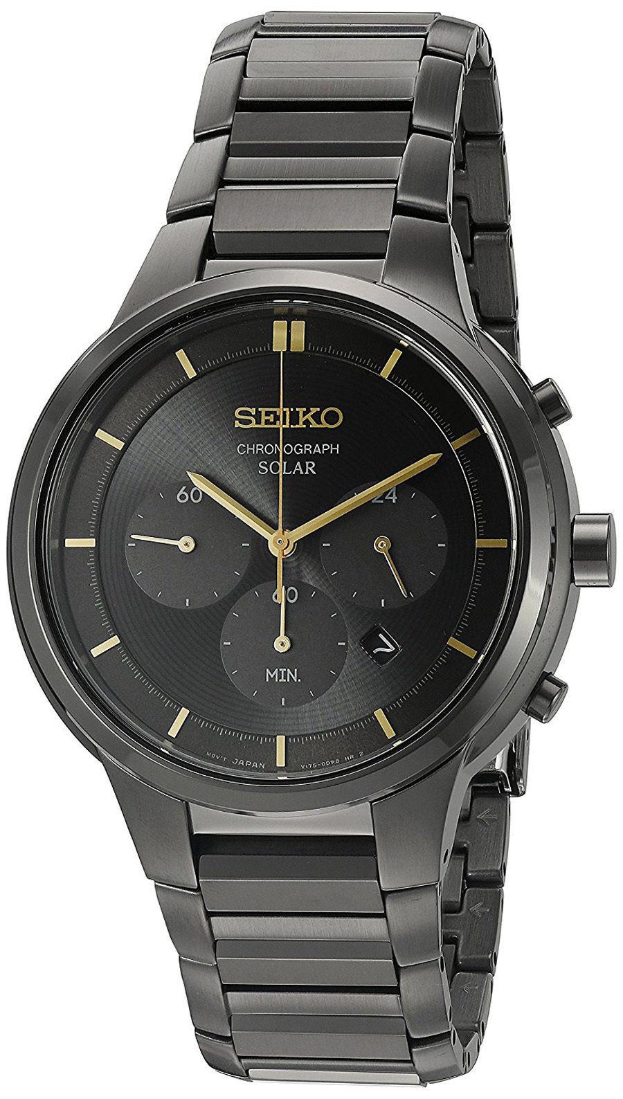3595d1602 Seiko Men s Solar Black Dial Black Stainless Steel Watch SSC441