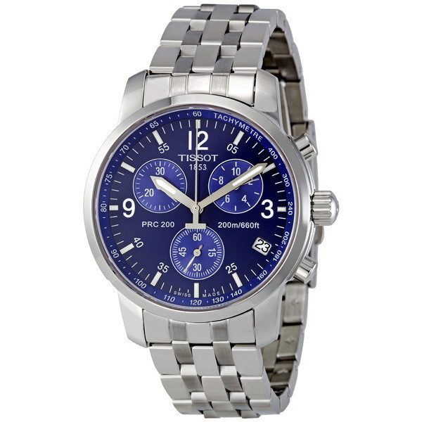 Tissot Men S Chronograph Stainless Steel Blue Dial Watch T17 1 586 42