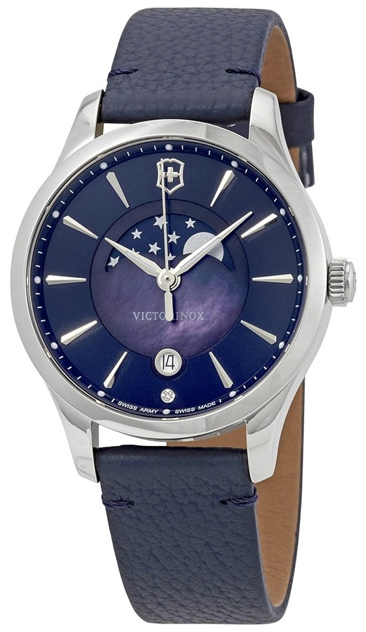 Victorinox Women's Alliance Moon Phase Blue Dial Blue Leather Watch 241794