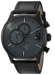 Kenneth Cole Men's Grey Dial Black Leather Watch 10031268