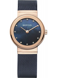 Bering Women's Classic Blue Dial Rose Gold Stainless Steel Mesh Watch 10126-367