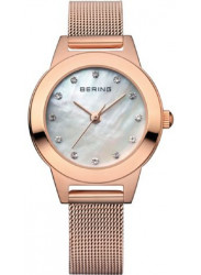 Bering Women's Mother Of Pearl Dial Rose Gold Stainless Steel Mesh Watch 11125-366