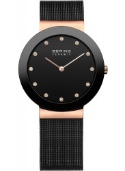 Bering Women's Black Dial Black Stainless Steel Mesh Watch 11435-166
