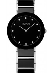 Bering Women's Black Dial Two Tone Ceramic Watch 11429-742