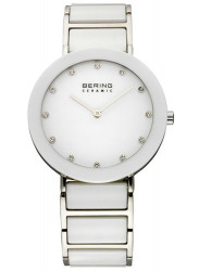 Bering Women's White Dial Two Tone Ceramic Watch 11435-754