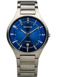 Bering Men's Blue Sunray Dial Titanium Watch 11739-707