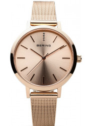 Bering Women's Classic Rose Gold Tone Stainless Steel Mesh Watch 13434-366