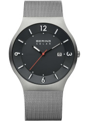 Bering Men's Solar Dark Grey Dial Stainless Steel Mesh Watch 14440-077