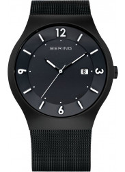Bering Men's Solar Black Dial Stainless Steel Mesh Watch 14440-222