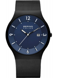 Bering Men's Solar Blue Dial Stainless Steel Mesh Watch 14440-227