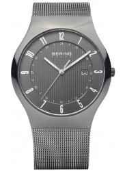 Bering Men's Solar Grey Dial Stainless Steel Mesh Watch 14640-077