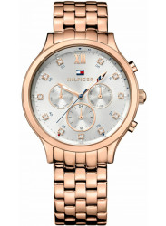 Tommy Hilfiger Women's Amelia Silver Dial Rose Gold Tone Watch 1781611