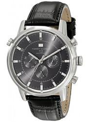 Tommy Hilfiger Men's Grey Dial Black Leather GMT 1790875
