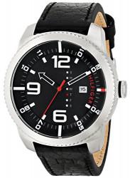 Tommy Hilfiger Men's Black Dial Black Leather Watch 1791014