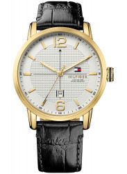 Tommy Hilfiger Men's Black Leather White Dial Watch 1791218