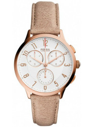 Fossil Women's Abilene Chronograph White Dial Brown Leather Watch CH3016