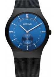 Bering Men's Classic Blue Sunray Dial Black Stainless Steel Mesh Watch 11940-227