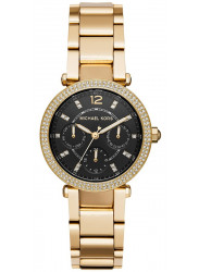 Michael Kors Women's Mini Parker Chronograph Black Dial Gold Tone Stainless Steel Watch MK3790