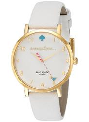 Kate Spade Women's Metro White Dial Leather Strap Watch 1YRU0765