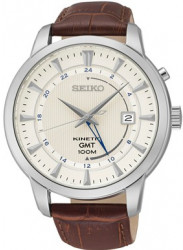 Seiko Men's Kinetic GMT Silver Dial Brown Leather Watch SUN041