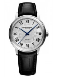 Raymond Weil Men's Maestro Automatic Silver Dial Black Leather Watch 2237-STC-00659